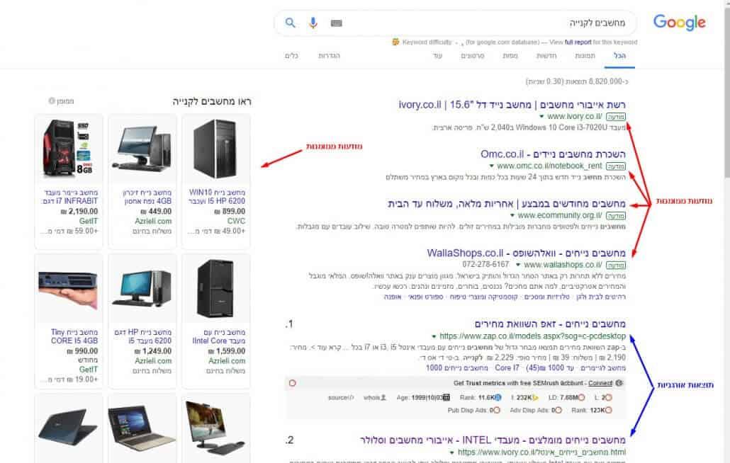 סימון תוצאות אורגניות ומודעות ממומנות בדף תוצאות החיפוש של גוגל